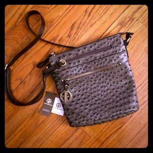 Giani Bernini Embossed Faux Ostrich Crossbody